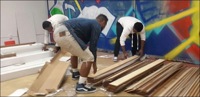 building futures supplies flooring for African American Community Services Agency in San Jose, CA
